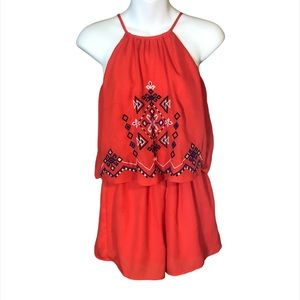 Flying Tomato Red Embroidered Romper Size XS